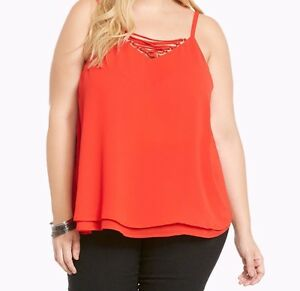 5217f23b12c Torrid Strappy Front Double Layered Chiffon Cami Red 00X Med Large ...