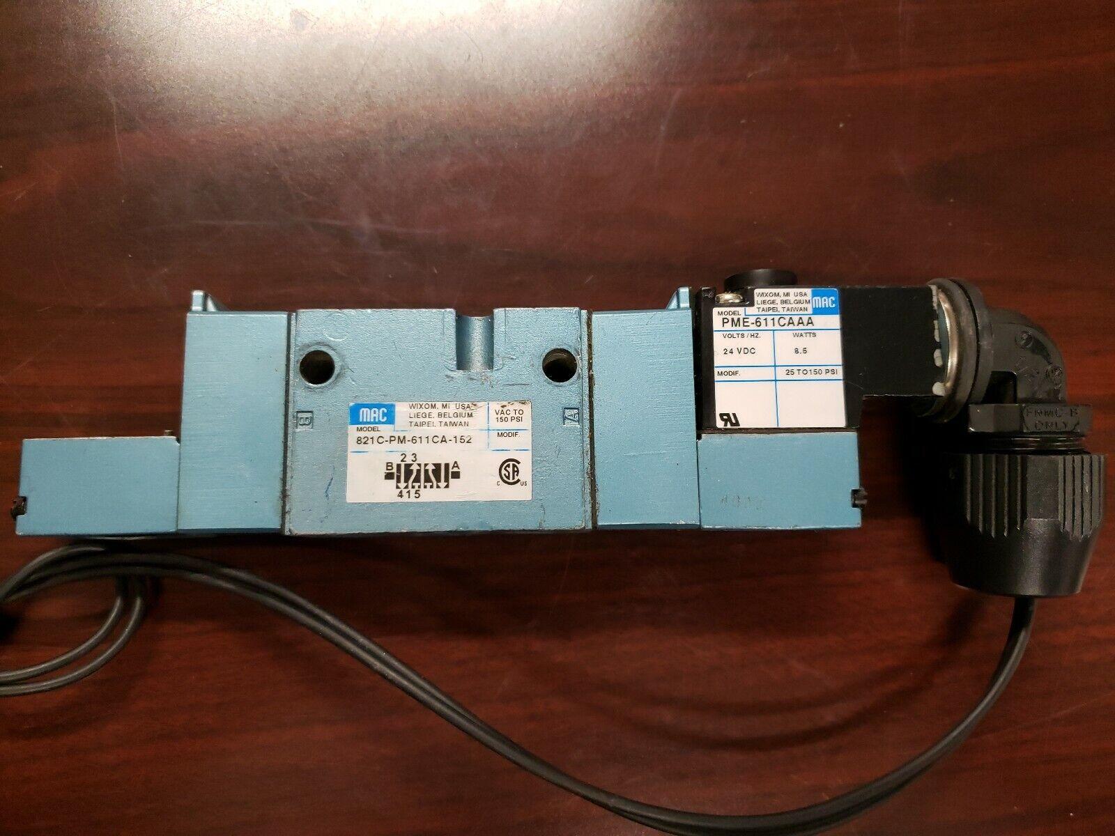 24VDC 8.5W 25-150PSI MAC 811C-PM-611JJ-152 Solenoid Valve w// PME-611JJ