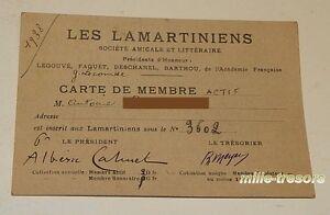 CARTE-MEMBRE-1938-d-039-Antoine-BOURDAT-Les-LAMARTINIENS-Societe-Amicale-Litteraire