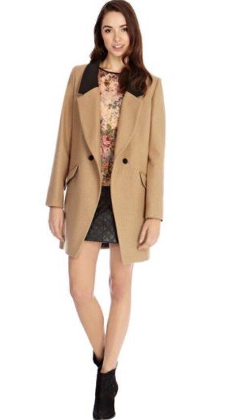 Oasis Leather Look Trim Lapel Wool Coat Camel Beige Size S BNWT