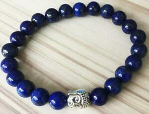 8mm-Lapis-lazuli-bracelet-7-5inches-Tibet-silver-Healing-Sutra-Spirituality