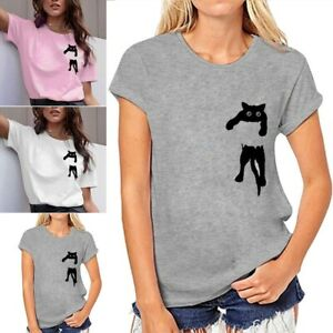 Women-039-s-Cat-Printed-T-shirt-Short-Sleeve-Blouse-Casual-Simple-Pullover-Tops-Tees