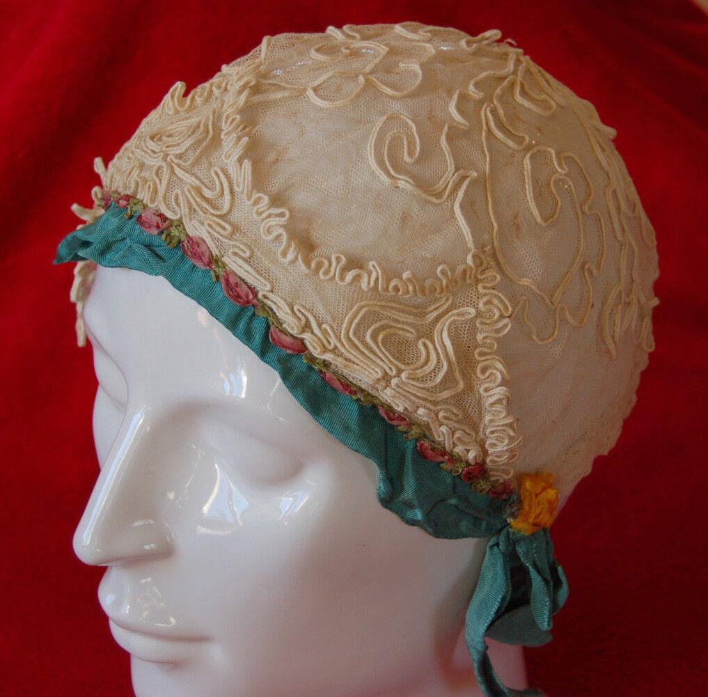 Antica coiffre berretto ricamata battesimo bambini bambola inizio XX Art