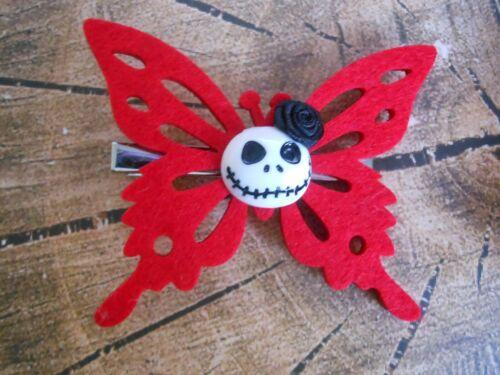 rot Haargummi Butterfly Haarspange Skull Schmetterling schwarz Haarklammer