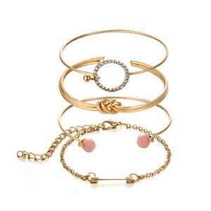4Pcs-Set-Ladies-Gold-Arrow-Knot-Crystal-Round-Opening-Chain-Bracelet-C9X8-W8A6