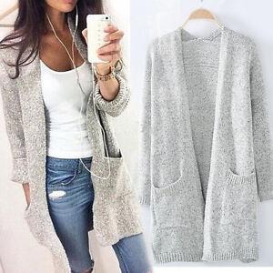 Damen-Sweatshirt-Pullover-Cardigan-Strickjacke-Longshirt-Oberbekleidung-Mantel