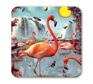 Retro-Vogel-Flamingo-Wasserfall-Untersetzer-Coaster-Bierdeckel-Lip