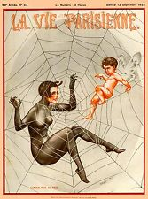 1920's La Vie Parisienne French Spider & Fly France Travel Advertisement Poster
