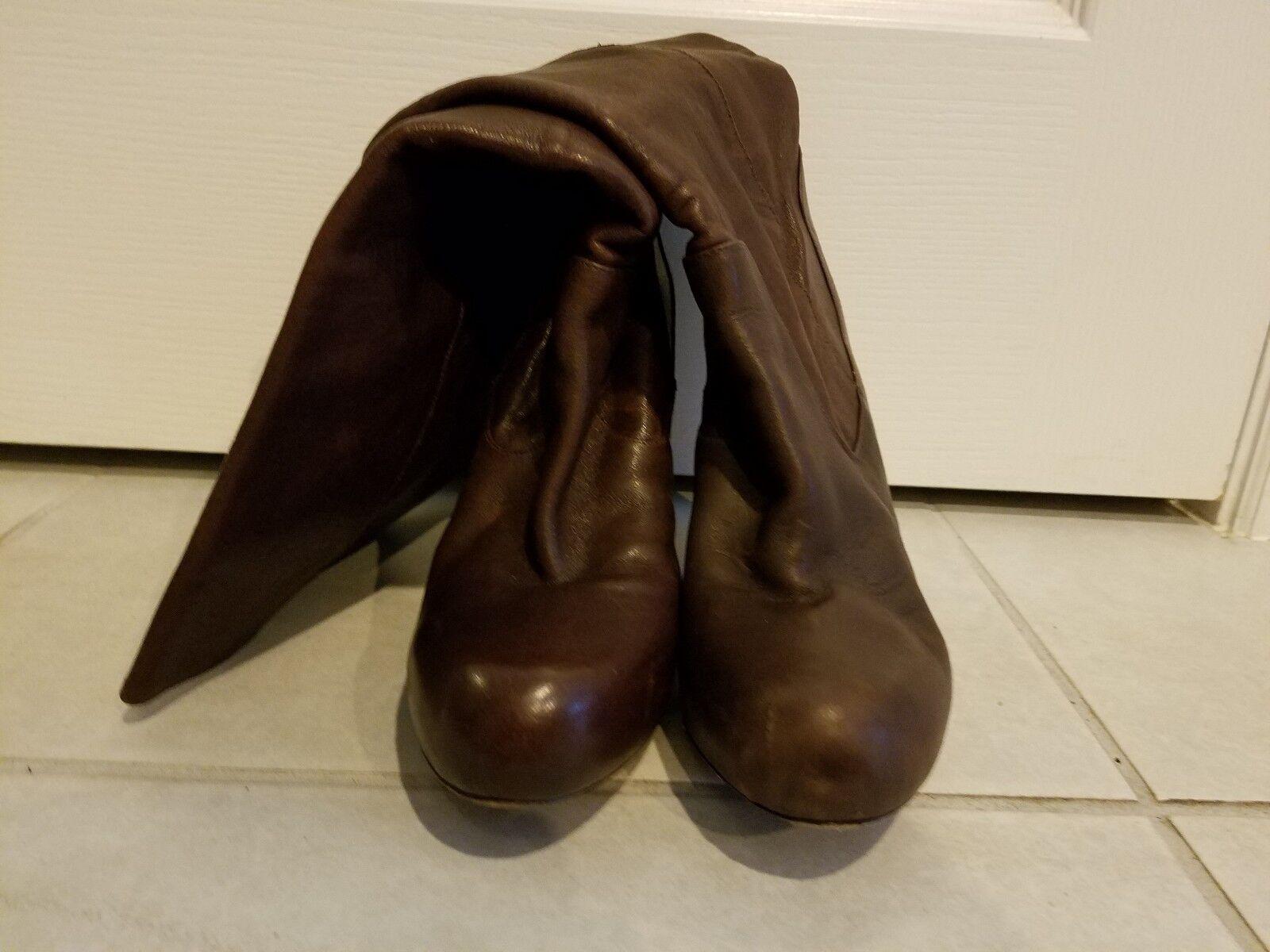 Loeffler Randal Women's Boots 9.5 B  Brown Leather Knee High