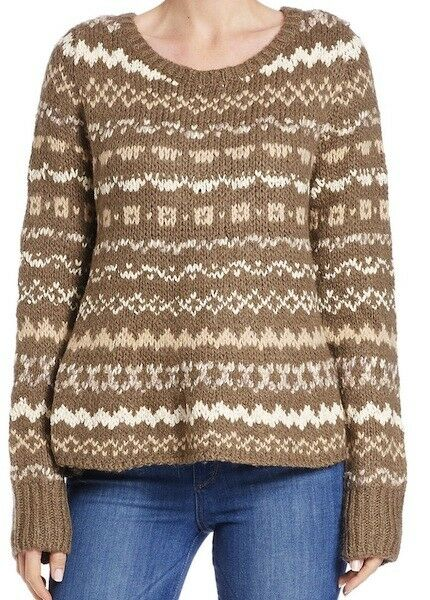 FREE PEOPLE Through The Storm Sweater Size L  Fair Isle Taupe Combo Bloomies