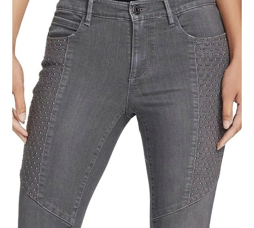 Skinnygirl Jeans Studded Moto Ankle Jeans Cloudscale Grey Size 4 27 MSRP