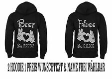 Best Friends Cap Hoodie Pullover 2 Stück Partner Look Viele Farben New XS - 5XL