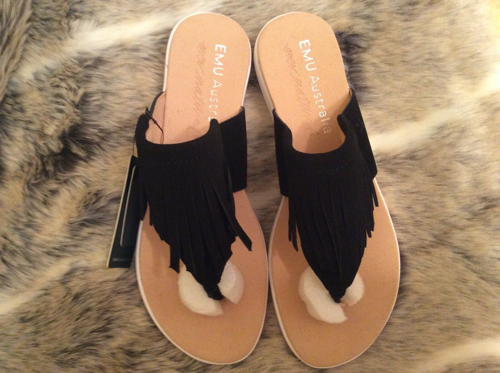 online retailer 3dbc7 52b14 Emu Australia Suede iris Black Fringed Thong Sandals
