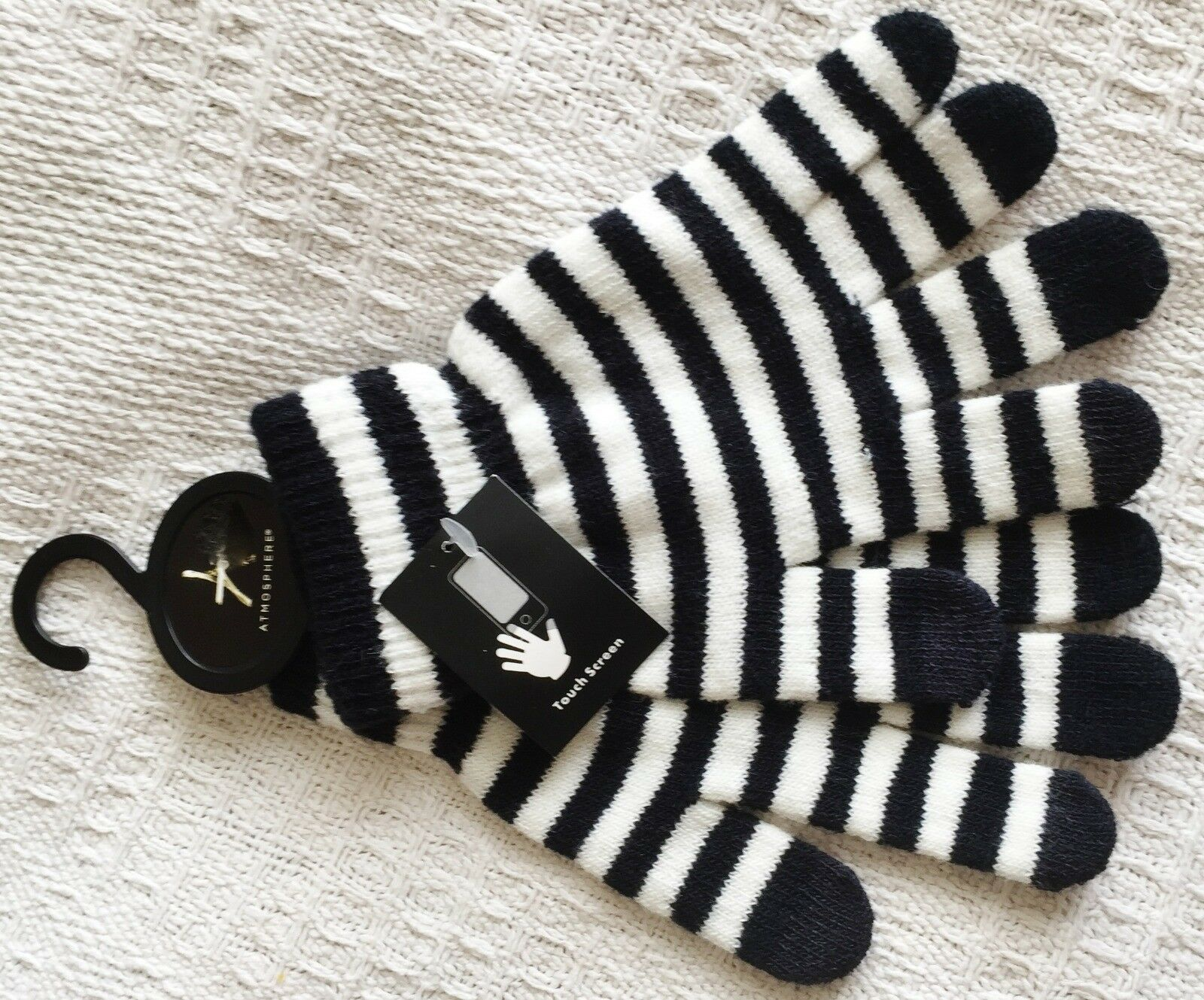 Black and white touch womens screen gloves