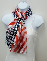 Wholesale Scarf Lot 6 Pc Red White Blue American Flag Scarves Wavy Design