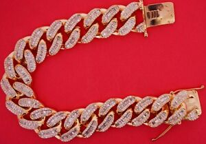 EXCLUSIVE-Miami-Cuban-Link-Bracelet-Baguette-amp-Round-Diamonds-14k-Rose-Gold