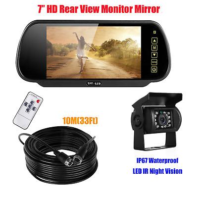 "7/"" HD LCD Mirror Monitor Rear View System CCD 4PIN Camera For Truck VAN Caravan"