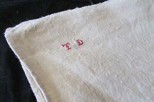 HUGE-Antique-French-Chanvre-Linen-Torchon-Towel-Hanging-Tabs-Mono-TD-c1900s