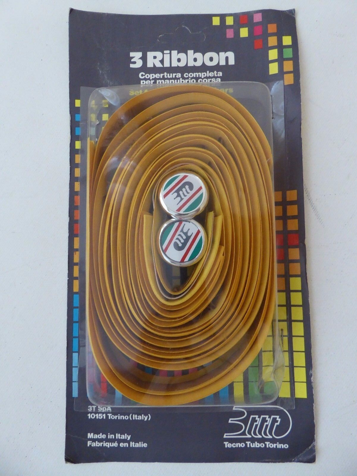 Vintage NOS Classic  80s  3TTT  Bar Tape Textured YELLOW With 3TTT Bar End Plugs  are doing discount activities