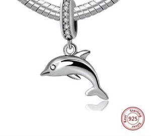 Plata-esterlina-cuelgan-Delfin-jugueton-S925-Encanto-Grano-Pulsera-Colgante-Regalo