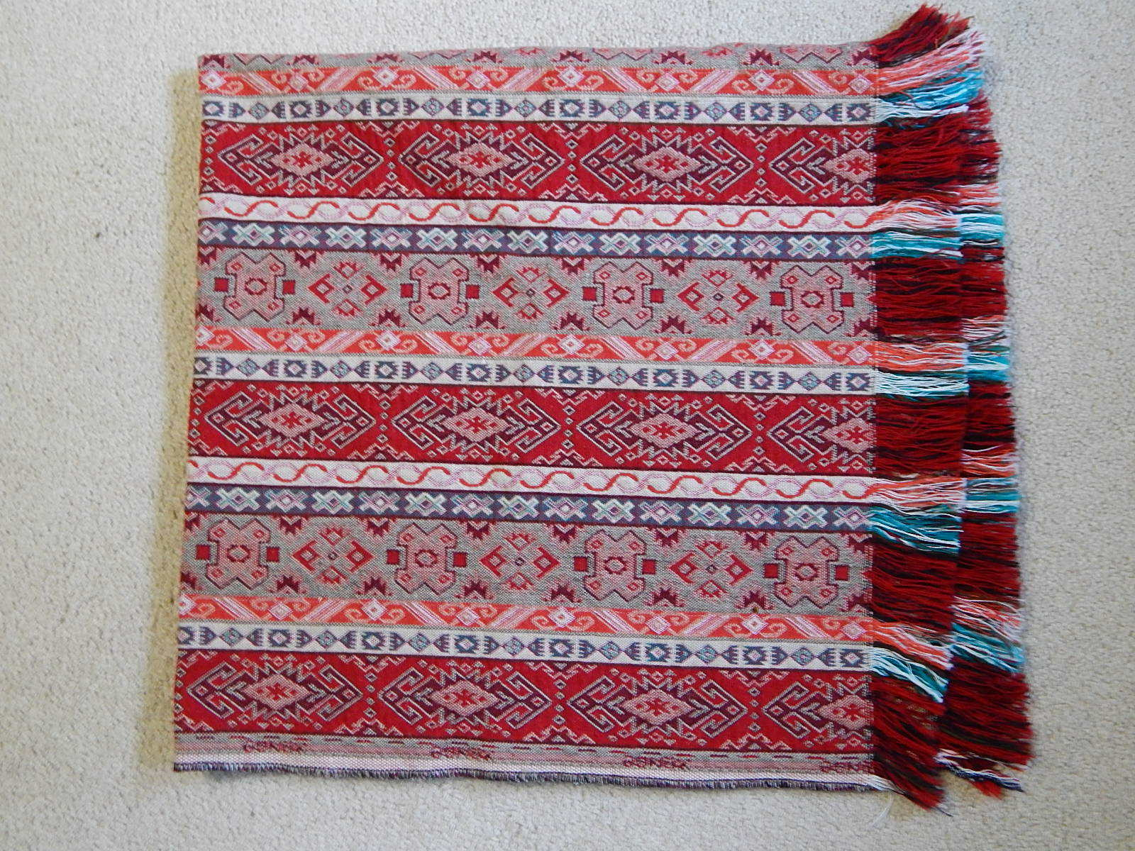 44  x 44  Middle Eastern Woven Textile Blanket Rug Wall Art