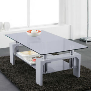Permalink to Modern Rectangle Glass And Chrome Living Room Coffee Table With Lower Shelf