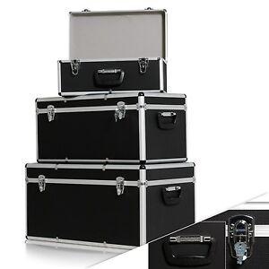 Masko-3er-SET-Boxen-Alubox-Alukiste-Transportbox-Werkzeugkiste-Lagerbox-Schwarz