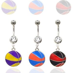 Details About Hanging Basketball Belly Button Ring Wear Your Favorite B Ball Teams Colors