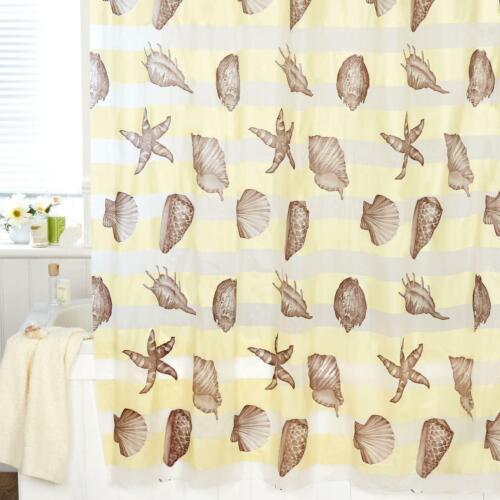 Crème Rideau de douche Sea Shells EVA étanche Salle de Bain Chambre Rideaux 3D Anneaux