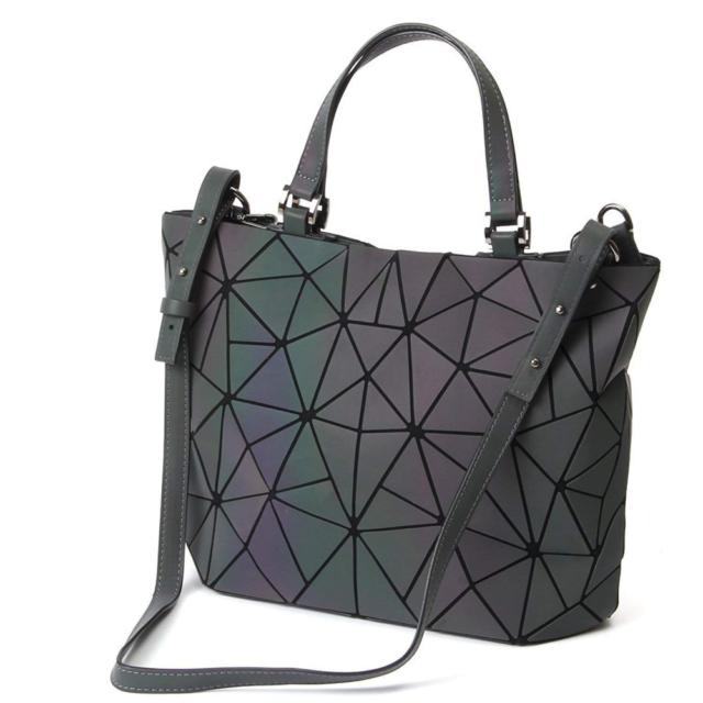 2b2f08f4c Geometric Lattice Luminous Shoulder Bag Holographic Reflective Cross-Body