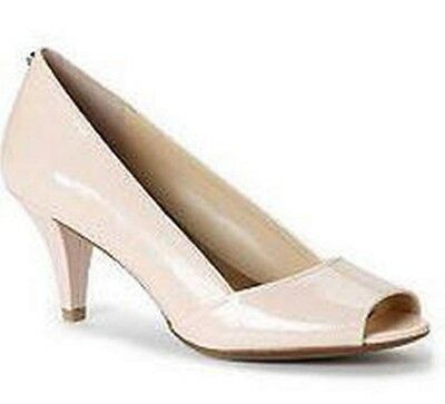 Women's Shoes Calvin Klein PARISA Peep Toe Classic Pumps Patent Lizard Pale Pink
