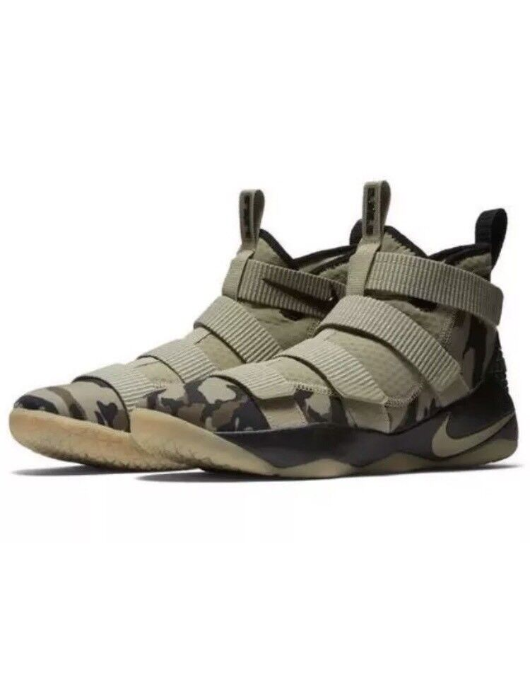 New  Nike LeBron Soldier XI Men's Size 9.5 Neutral Olive/Camo 897644-200