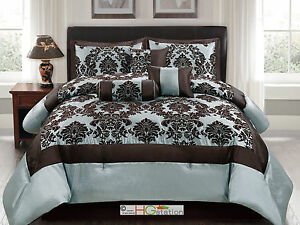 Blue And Brown Bedroom Set 7p silky poly-satin flocking damask floral square comforter set