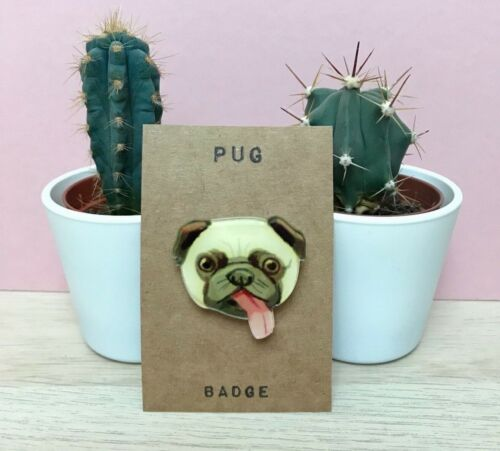 Cute Pug with Pink Toungue Acrylic Badge Gift Pin Brooch DogВ Lover Doggy TanВ