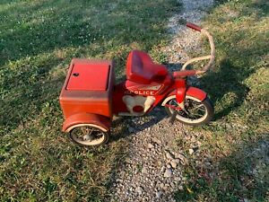 VERY-RARE-EVANS-Police-Ride-On-Tricycle-Bicycle-Pedal-Car-100-Original-Colson