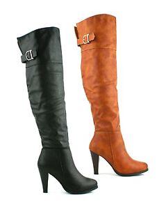 Para-Mujer-Damas-bloque-talon-encima-de-la-rodilla-alto-del-muslo-cremallera-botas-de-invierno