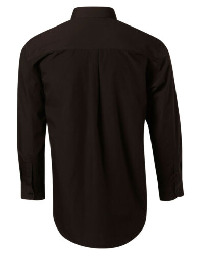 Benchmark Mens Poplin Long Sleeve Business Shirt Easy Care Adjustable Round Cuff
