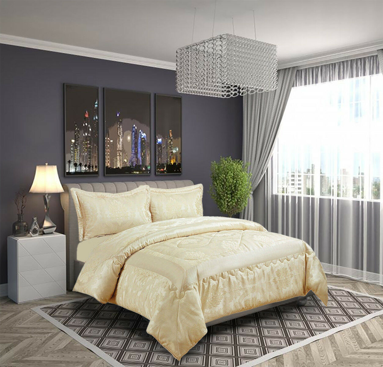 jacquard bett berwurf gesteppte tagesdecke 220x240 240x260. Black Bedroom Furniture Sets. Home Design Ideas