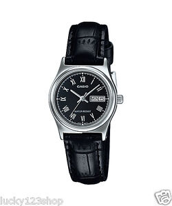 93305fe53c7 LTP-V006L-1B Black Casio Ladies Women Watches Leather Band Brand-New ...