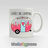 Carry On Camping Mug Tea Coffee Cup Slogan Caravan