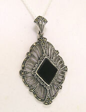 Marcasite .925 Sterling Silver Open Work Marquise Pendant w/ Black Onyx Stone
