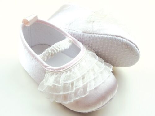 NEW Baby Girl White Lace Ruffles Christening Ballerina Shoes 6-12 months Size 4
