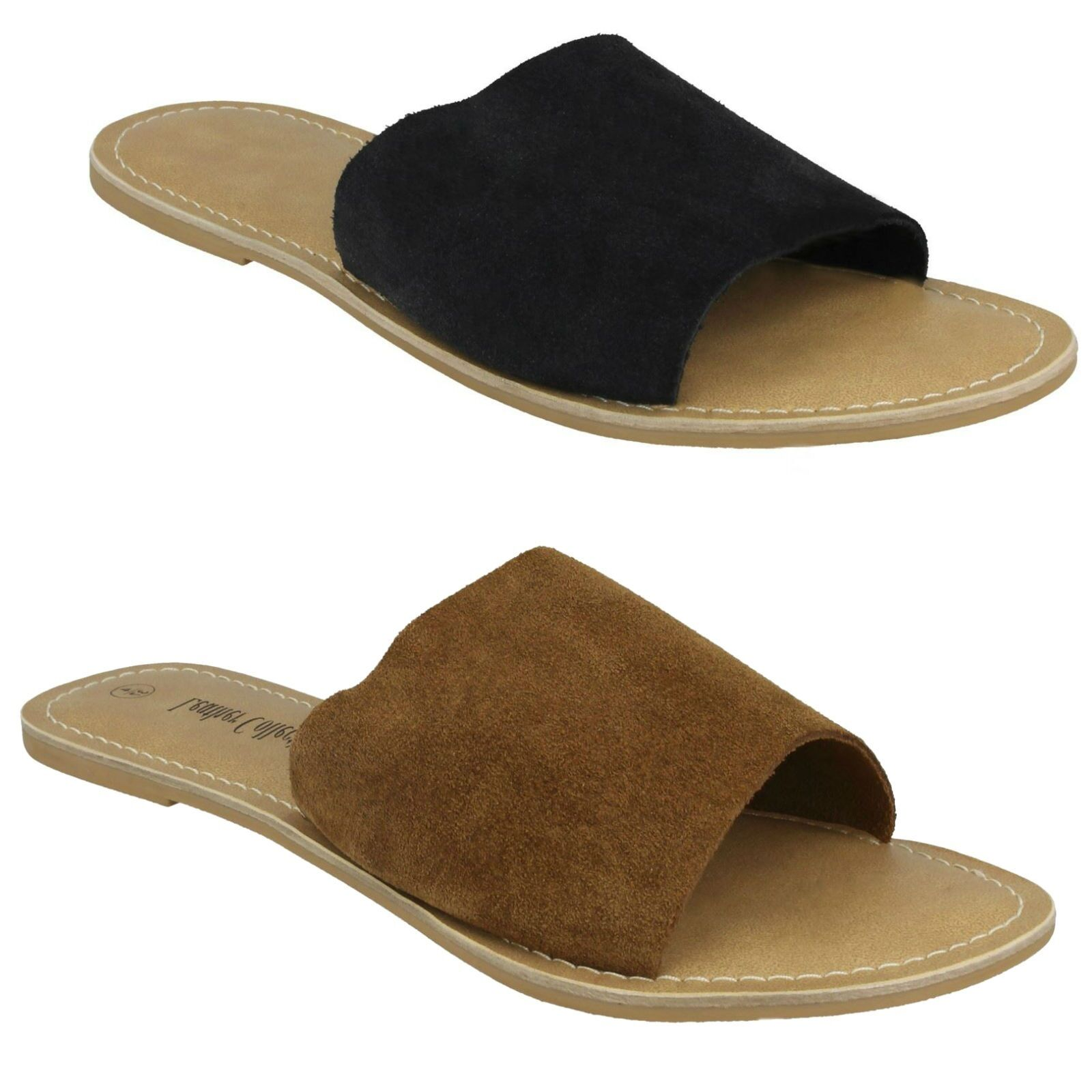 LADIES ON WOMENS LEATHER COLLECTION SLIP ON LADIES CASUAL SUMMER MULES SANDALS F00072 c9cb05