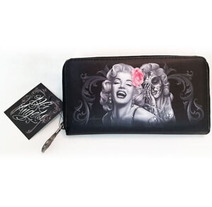 DGA Day of the Dead Marilyn Monroe Smile Now Cry Later Zipper Clutch Wallet