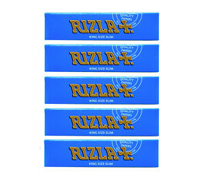 ORIGINAL-5-x-GENUINE-RIZLA-BLUE-KING-SIZE-SLIM-CIGARETTE-SMOKING-ROLLING-PAPERS