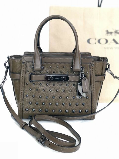 Nwt Coach 57696 Swagger 21 Ombre Rivets Pebble Leather Handbag Fatigue Army 395