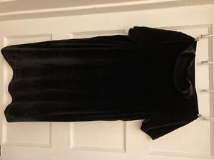 Womens Madewell size small black velvet mini dress mock neck EUC