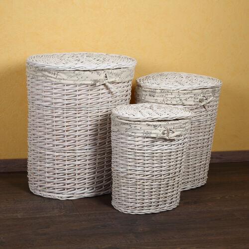 Melko® 3er Set Wäschekorb Truhe Sortierer Wäschebox Truhe Rund Sammler Weiß
