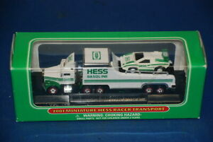 """Brand New 2001 HESS Mini Miniature /""""Racer Transport/"""" from a Fresh Case of 24"""