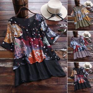 S-5xl-femmes-Faux-deux-pieces-Chemisier-en-vrac-Floral-Women-Loisirs-Tops-Shirts